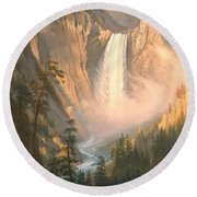 Yellowstone Round Beach Towel by Albert Bierstadt