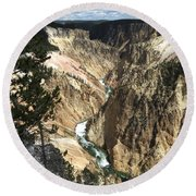 Round Beach Towel featuring the photograph Yellowstone Canyon by Laurel Powell