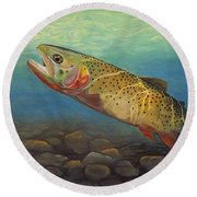 Yellowstone Cut Takes A Salmon Fly Round Beach Towel