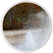 Round Beach Towel featuring the photograph Yellowstone Geyser by Michael Chatt