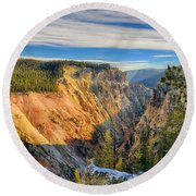 Yellowstone Grand Canyon East View Round Beach Towel