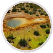 Yellowstone Hot Pool Round Beach Towel by Ausra Huntington nee Paulauskaite