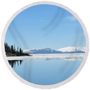 Yellowstone Lake In The Spring Round Beach Towel