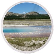 Round Beach Towel featuring the photograph Yellowstone Landscape by Laurel Powell