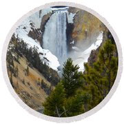 Round Beach Towel featuring the photograph Yellowstone Lower Falls In Spring by Michele Myers