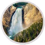 Yellowstone Lower Waterfalls Round Beach Towel