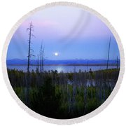 Round Beach Towel featuring the photograph Yellowstone Moon by Ann Lauwers