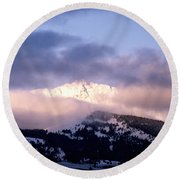 Round Beach Towel featuring the photograph Yellowstone Morning by Sharon Elliott