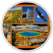 Yellowstone National Park Round Beach Towel