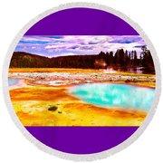 Yellowstone National Park Round Beach Towel