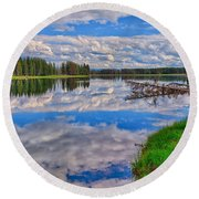 Yellowstone River Reflections Round Beach Towel