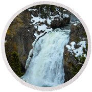 Round Beach Towel featuring the photograph Yellowstone Upper Falls In Spring by Michele Myers
