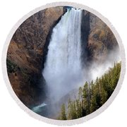 Lower Yellowstone Falls Round Beach Towel by Athena Mckinzie