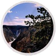 Yellowstone Waterfall Round Beach Towel by Matt Harang