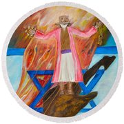 Round Beach Towel featuring the painting Yeshua by Cassie Sears