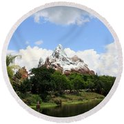 Round Beach Towel featuring the photograph Yeti Country by David Nicholls