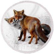 Yin Yang _ Red Fox Love Round Beach Towel