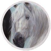 Yin-yang Horses  Round Beach Towel