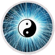 Yin Yang Round Beach Towel by Tim Gainey
