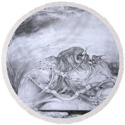 Round Beach Towel featuring the drawing Ymir At Rest by Otto Rapp