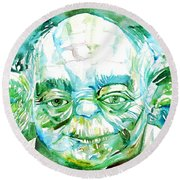 Yoda Watercolor Portrait Round Beach Towel by Fabrizio Cassetta