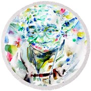 Yoda Watercolor Portrait.1 Round Beach Towel by Fabrizio Cassetta