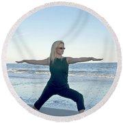 Yoga Woman On The Beach Round Beach Towel