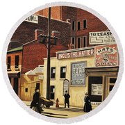 Round Beach Towel featuring the painting Yonge And Richmond Streets 1899 by Kenneth M  Kirsch