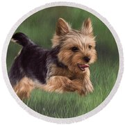 Yorkshire Terrier Painting Round Beach Towel