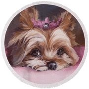 Yorkshire Terrier Princess In Pink Round Beach Towel