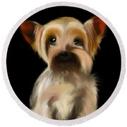 Yorkshire Terrier Pup Round Beach Towel