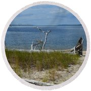 Yorktown Va Beach Round Beach Towel by DejaVu Designs
