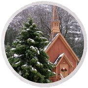 Yosemite Chapel In Winter Round Beach Towel