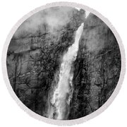Yosemite Fall Round Beach Towel
