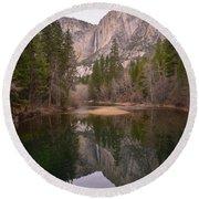 Yosemite Falls Reflection Round Beach Towel