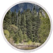 Yosemite National Park. Half Dome Round Beach Towel