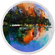 Yosemite Valley Round Beach Towel by Elise Palmigiani