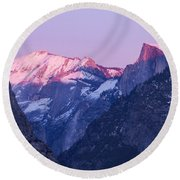 Yosemite Valley Panorama Round Beach Towel