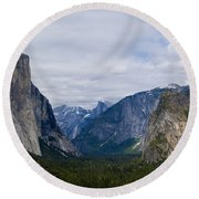 Yosemite Valley Panoramic Round Beach Towel