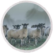 You And Ewes Army? Round Beach Towel by Chris Fletcher