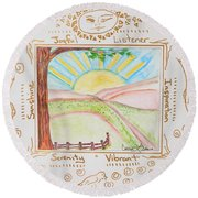 Round Beach Towel featuring the painting You Are My Sunshine by Cassie Sears