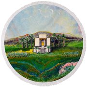 Round Beach Towel featuring the painting You Are The Temple Of God by Cassie Sears