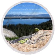 Round Beach Towel featuring the photograph You Can Make It. Inspiration Point by Ausra Huntington nee Paulauskaite