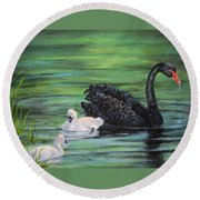 You Comin'--black Swan Round Beach Towel