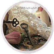 Round Beach Towel featuring the photograph You Hold The Key To My Heart by Katie Wing Vigil