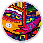 You Move Me - Face - Abstract Round Beach Towel