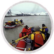 Young Adults Rafting On Alsek River Round Beach Towel