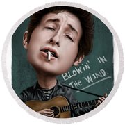 Young Bob Dylan Round Beach Towel by Andre Koekemoer