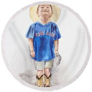 Young Cowboy  Round Beach Towel