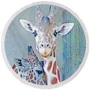 Young Giraffes Round Beach Towel